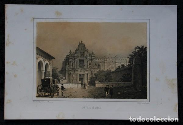 CARTUJA DE JEREZ - CADIZ - LITOGRAFIA ORIGINAL EPOCA - PARCERISA - 1856 - 32X21,5CM (Arte - Litografías)