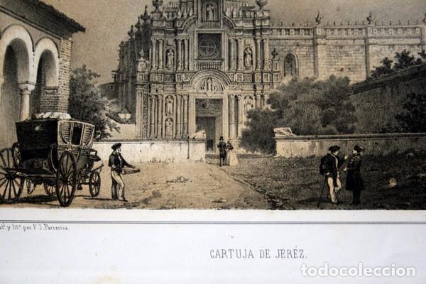 Arte: CARTUJA DE JEREZ - CADIZ - LITOGRAFIA ORIGINAL EPOCA - PARCERISA - 1856 - 32x21,5cm - Foto 2 - 97615959