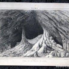 Arte: BOCA DE LA GRUTA DE ARTA - MALLORCA - LITOGRAFIA ORIGINAL - PARCERISA - CIRCA 1840 - 28X18,5CM. Lote 97691351