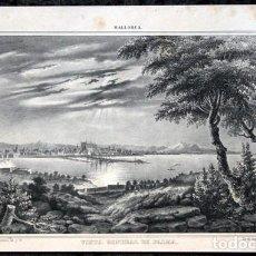 Arte: VISTA GENERAL DE PALMA - MALLORCA - LITOGRAFIA ORIGINAL EPOCA - PARCERISA - CIRCA 1840 - 27X17CM. Lote 97691491