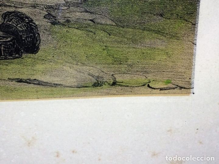 Arte: PLAZA CON IGLESIA ESTILO MUDÉJAR. LITOGRAFÍA A COLOR. ESPAÑA. SIGLO XIX - Foto 7 - 98208355
