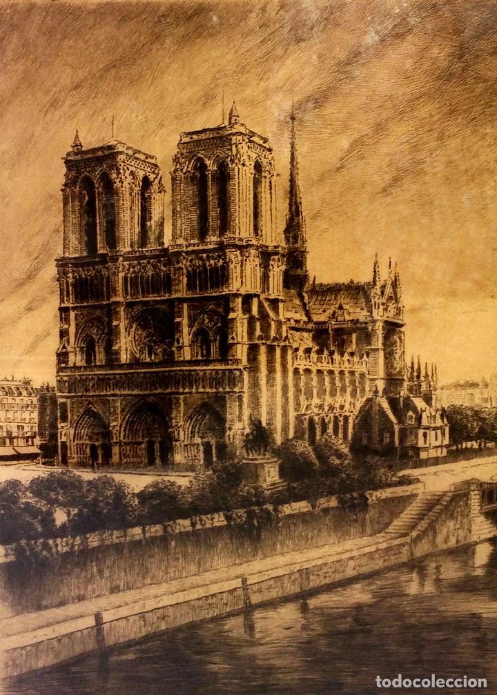 NOTRE DAME DE PARIS. LITOGRAFIA SOBRE PAPEL. FIRMA AUTÓGRAFA. LUCY GARRIOL. XX (Arte - Litografías)