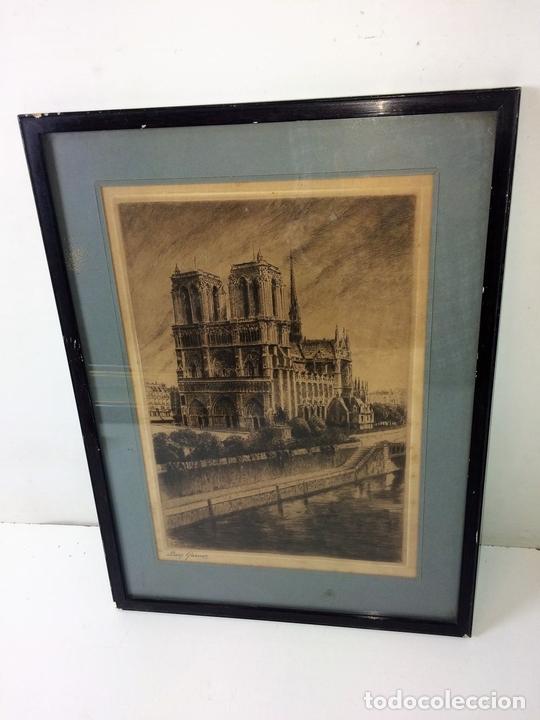 Arte: NOTRE DAME DE PARIS. LITOGRAFIA SOBRE PAPEL. FIRMA AUTÓGRAFA. LUCY GARRIOL. XX - Foto 2 - 98476111