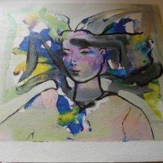 Arte: LAMINA LITOGRAFIA ROSTRO FEMENINO ARTISTA MURCIANO MOLINA SANCHEZ MURCIA. Lote 262175540