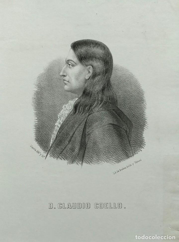 CLAUDIO COELLO, LITOGRAFÍA DE SANTIAGO LLANTA, 1866. CON PASPARTÚ (Arte - Litografías)