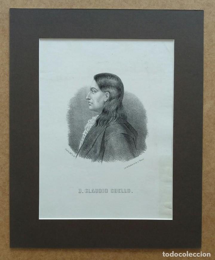 Arte: Claudio Coello, litografía de Santiago Llanta, 1866. Con paspartú - Foto 2 - 99481571