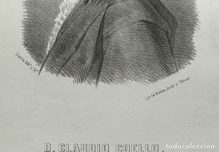 Arte: Claudio Coello, litografía de Santiago Llanta, 1866. Con paspartú - Foto 3 - 99481571