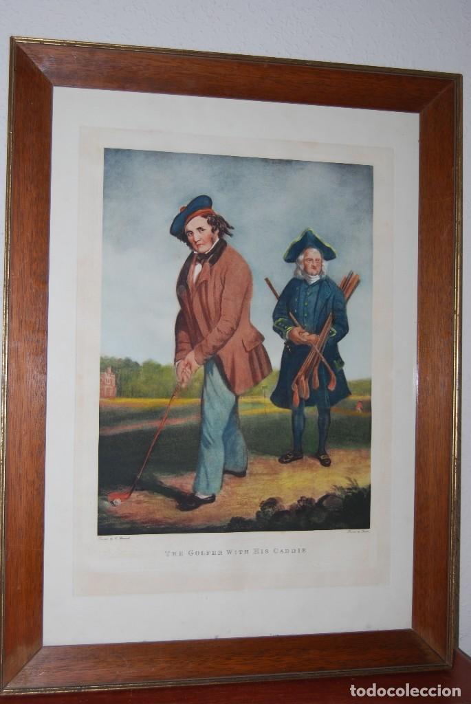 GRABADO - LITOGRAFÍA - C. BENNOCH IMPRESA DUNKES - THE GOLFER WITH HIS CADDIE - GOLF - CAOBA -C.1900 (Arte - Litografías)