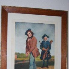 Arte: GRABADO - LITOGRAFÍA - C. BENNOCH IMPRESA DUNKES - THE GOLFER WITH HIS CADDIE - GOLF - CAOBA -C.1900. Lote 99716463