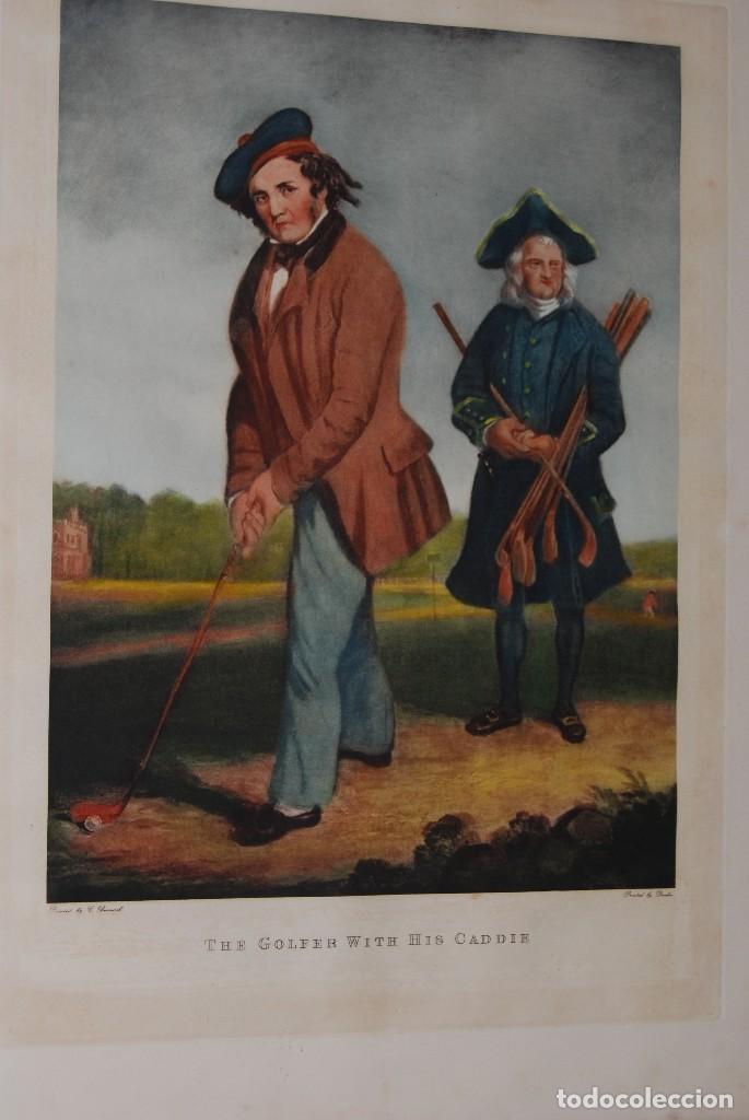 Arte: GRABADO - LITOGRAFÍA - C. BENNOCH IMPRESA DUNKES - THE GOLFER WITH HIS CADDIE - GOLF - CAOBA -C.1900 - Foto 2 - 99716463