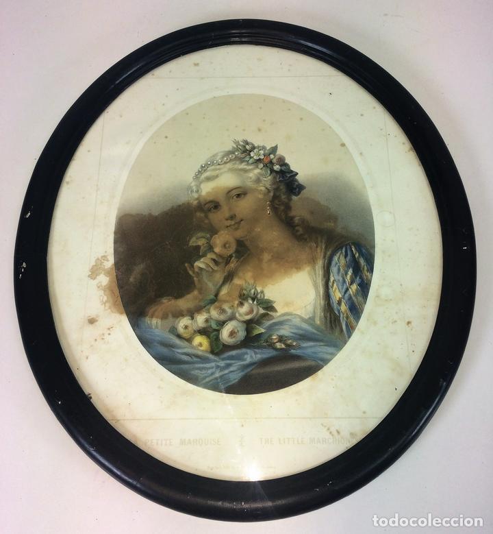 LA PETITE MARQUISE. LITOGRAFÍA A COLOR. IMPRESOR SCHAUS. NEW YORK. U.S.A. SIGLO XIX (Arte - Litografías)