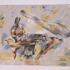 Arte: LITOGRAFÍA, PIANISTA, FIRMA ILEGIBLE. 76X54CM. Lote 102775439
