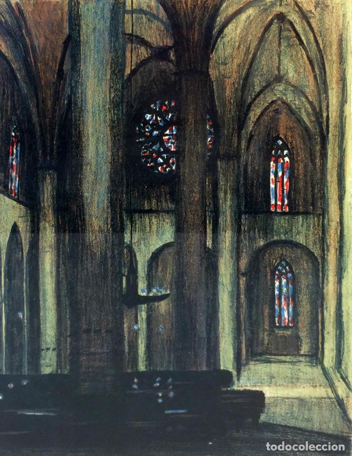 INTERIOR DE CATEDRAL. LITOGRAFÍA A COLOR. PRUEBA DE ARTISTA. SIMO BUSSOM. ESPAÑA 1983 (Arte - Litografías)