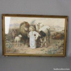 Arte: LITOGRAFIA EN SU MARCO ORIGINAL DE WILLIAM STRUTT DE NIÑO JESÚS. 1900 - 1920 (BRD). Lote 103539043