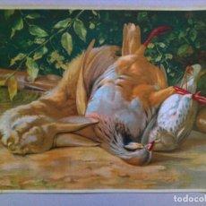 Arte: ANTIGUA LITOGRAFIA CON ESCENA DE CAZA. Lote 104129699