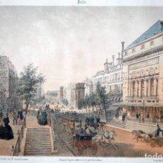 Arte: LITOGRAFÍA ILUMINADA A MANO, PARIS, BOULEVARDS , CHARLES CLAUDE BACHELIER 1854. Lote 104864995