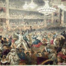 Arte: LITOGRAFÍA ILUMINADA A MANO, PARIS. BAL L´OPÉRA. PROVOST. 1854. Lote 105025975