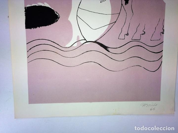 Arte: PAREJA DE LITOGRAFÍAS SOBRE PAPEL. FIRMADO CASTILLO. ESPAÑA. 1966 - Foto 12 - 105899331