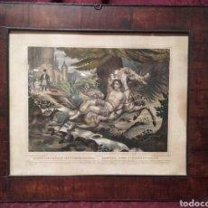 Arte: MAZEPPA ATADO A UN CABALLO FOGOSO. ANTIGUA LITOGRAFIA FRANCESA CIRCA 1840.. Lote 105931655