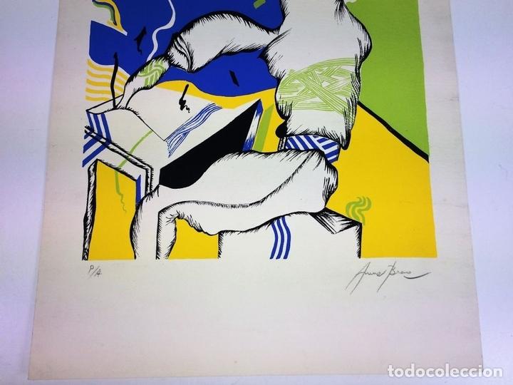 Arte: COMPOSICIÓN SURREALISTA. LITOGRAFÍA SOBRE PAPEL. P/A. ARRANZ(?). ESPAÑA. SIGLO XX - Foto 5 - 107003855
