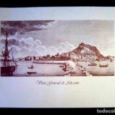 Arte: LAMINA LITOGRAFIA DE - VISTA ANTIGUA DE ALICANTE - TAMAÑO 62 X 37 CMS. Lote 122829390
