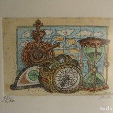 Arte: DOS LITOGRAFIAS FIRMADAS R.M Y NUMERADAS , MEDIDAS DEL ESPACIO Y EL TIEMPO. Lote 107923823