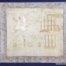 Arte: PLANCHA CARTON LITOGRAFIADA PRENSADO AGLOMERADO MERIDA MONUMENTO ARCO ACUEDUCTO TEMPLO 62 X 53 CM. Lote 108427707