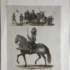 Arte: GRABADO LITOGRAFIA TRAJES MILITARES Y ARMAS ESPAÑOLAS SIGLO XVI. 1842. Lote 108728699