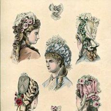 Arte: LAMINA CROMOLITOGRAFÍA DEL AÑO 1876. SOMBREROS Y TOCADOS, LA SAISON PARIS. Lote 108893983