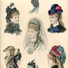Arte: LAMINA CROMOLITOGRAFÍA DEL AÑO 1877 SOMBREROS Y TOCADOS, LA SAISON PARIS. Lote 108894239