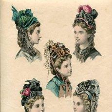 Arte: LAMINA CROMOLITOGRAFÍA DEL AÑO 1872 SOMBREROS Y TOCADOS, LA SAISON PARIS. Lote 108894427