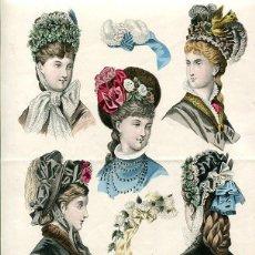 Arte: LAMINA CROMOLITOGRAFÍA DEL AÑO 1875 SOMBREROS Y TOCADOS, LES MODES DE LA SAISON PARIS. Lote 108894723