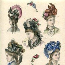 Arte: LAMINA CROMOLITOGRAFÍA DEL AÑO 1874 SOMBREROS Y TOCADOS, LA SAISON PARIS. Lote 108894975