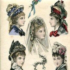 Arte: LAMINA CROMOLITOGRAFÍA DEL AÑO 1875 SOMBREROS Y TOCADOS, LA SAISON PARIS. Lote 108895211