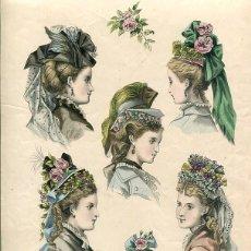 Arte: LAMINA CROMOLITOGRAFÍA DEL AÑO 1873 SOMBREROS Y TOCADOS, LA SAISON PARIS. Lote 108895335