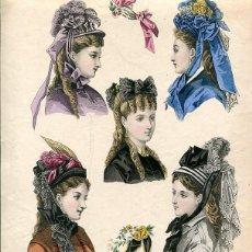 Arte: LAMINA CROMOLITOGRAFÍA DEL AÑO 1872 SOMBREROS Y TOCADOS, LA SAISON PARIS. Lote 108895575