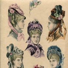 Arte: LAMINA CROMOLITOGRAFÍA DEL AÑO 1874 SOMBREROS Y TOCADOS, LA SAISON PARIS. Lote 108895715