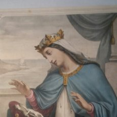 Arte: SANTA ISABEL, REINA LITOGRAFÍA ANTIGUA 36 X 50 CM. Lote 109111043
