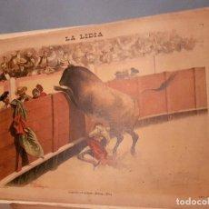 Arte: LITOGRAFÍA DE LA LIDIA, 5 DE OCTUBRE DE 1891. LAGARTIJO EN PELIGRO 1891.. Lote 109494839