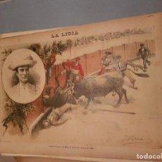 Arte: LITOGRAFIA DE LA LIDIA, 3 DE AGOSTO DE 1891. CAIDA DE MUERTE DE MANUEL CALDERON 1891. Lote 109495135