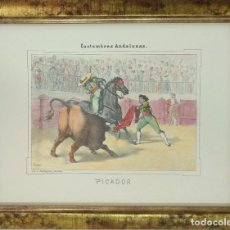 Arte: CARLOS SANTIGOSA. LITOGRAFÍA TAURINA ILUMINADA A MANO, PICADOR. FIRMADA EN PLANCHA. 1857. Lote 110261947