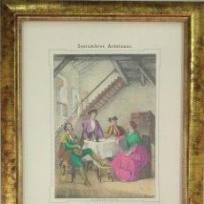 Arte: CARLOS SANTIGOSA. LITOGRAFÍA TAURINA ILUMINADA A MANO, TERTULIA. FIRMADA EN PLANCHA. 1857. Lote 110262063