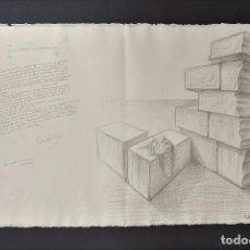 Arte: SUBIRACH Y CAMILO J. CELA. LITOGRAFÍA LAS PIEDRAS VEJIGUERAS. FIRMADO POR AMBOS AUTORES. ENMARCADAS. Lote 110334287