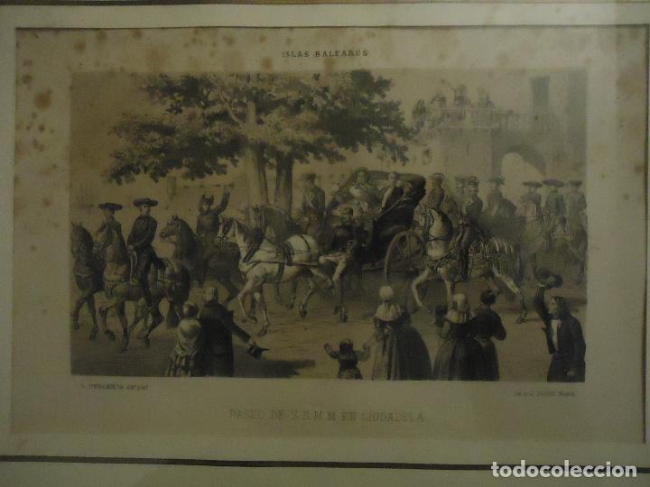Arte: Litografía. Visita de S.S.M.M. a Ciudadela, Menorca en septiembre de 1860 - Foto 2 - 110532199