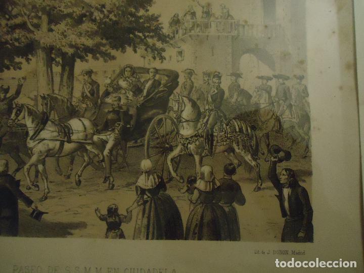 Arte: Litografía. Visita de S.S.M.M. a Ciudadela, Menorca en septiembre de 1860 - Foto 3 - 110532199