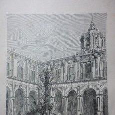 Arte: LITOGRAFIA SIGLO XIX. SEVILLA. PATIO DEL PALACIO DE SAN TELMO. Lote 111793871