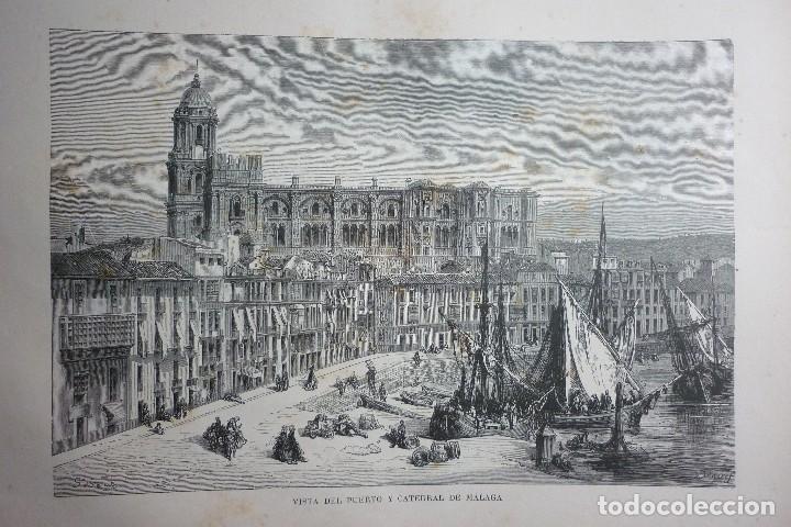 LITOGRAFIA SIGLO XIX. VISTA DEL PUERTO Y CATEDRAL DE MALAGA (Arte - Litografías)