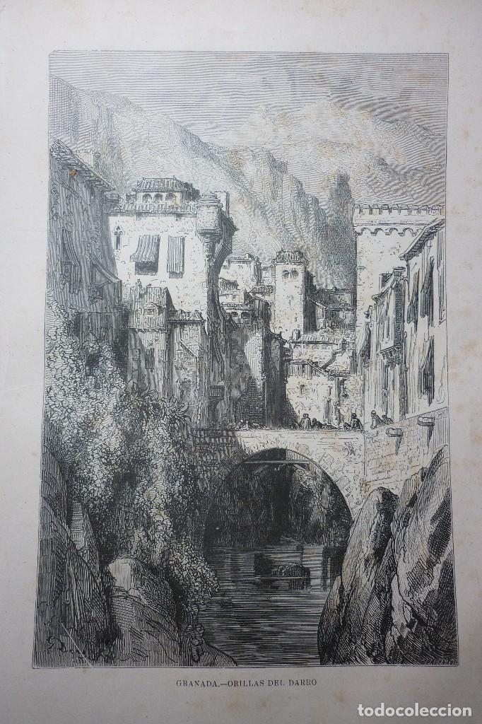 LITOGRAFIA SIGLO XIX. GRANADA. ORILLAS DEL DARRO (Arte - Litografías)