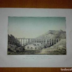 Arte: FERRO CARRIL DE BARCELONA Á ZARAGOZA : GRAN VIADUCTO DEL BUXADELL. E. PLANAS 1859. LIT. LABIELLE. Lote 113548835