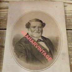 Arte: 1870 LITOGRAFIA DE DON SALUSTIANO OLOZAGA. Lote 114281243